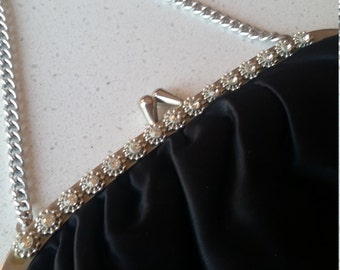 Vintage black satin evening bag with rhinestone detail and chain handle