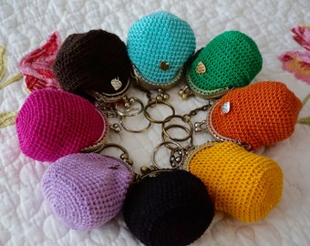 HANDMADE crochet COIN PURSE Keychains