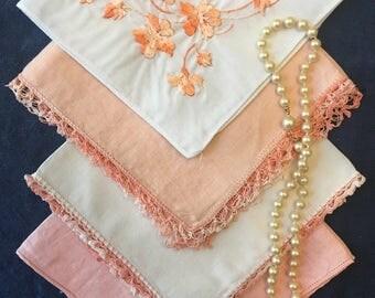Bridesmaids Peach Hankies, Lot of 4 Vintage Orange Party Gifts Wedding Four Handkerchiefs Hankie Handkerchief Coral Tangerine Carrot Bridal