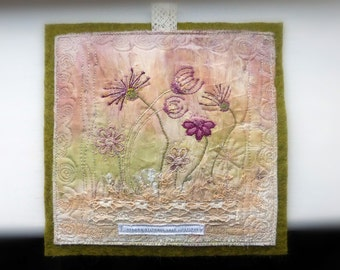 small wall art, textile meadow, mini textile art, mini embroidery, strong stitches