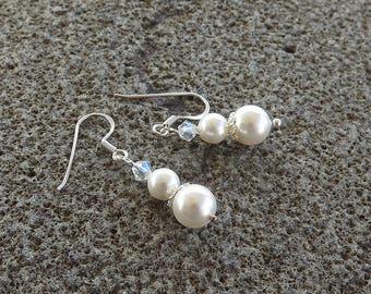 Swarovski Pearl Earrings, Pearl and Crystal, Bridal Earrings, Wedding Jewelry