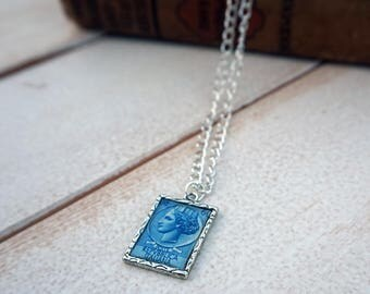 Italy Postage Stamp Necklace   Vintage Stamp Necklace   Stamp Accessory