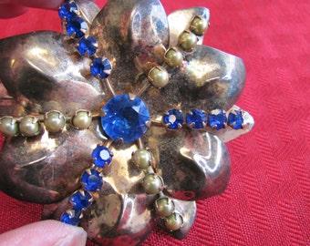 Pearl and Blue Rhinestone Sterling Silver Brooch