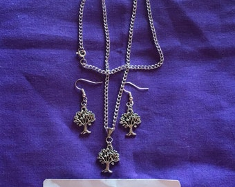 Tree of Life Gift Set Nickle free Silver plated  earrings and necklace
