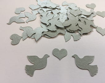 Confetti | Doves | Hearts | Shiny | Silver | Gold | Cardstock | Wedding | Babyshower | Decoration | Supplies | Die cut