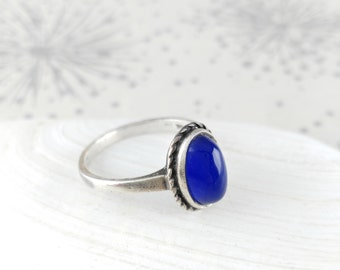 Silver Blue Stone Ring - Anniversary Gift - Blue Silver Ring - UK N  - Silver Pinky Ring - Blue Vintage Ring - Mothers Day Ring