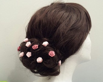 Hair Pin SET, Satin Rose Hair Pins, Set of 10..to..40__Bridal Hair Accessories