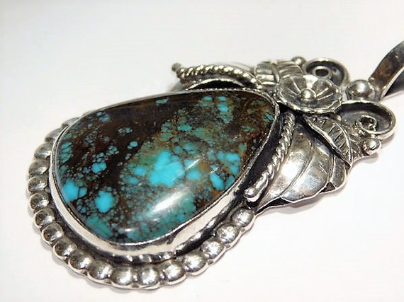Vintage Bisbee Turquoise Pendant Navajo Sterling Silver Native American Turquoise Pendant Jewelry Artisan Handcrafted Gemstone Statement