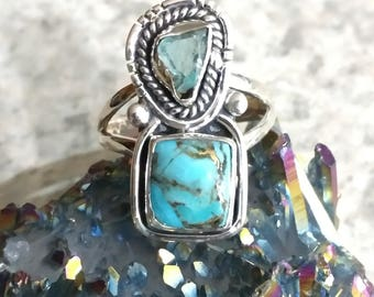 Blue Copper Turquoise and Apatite Ring Size 8