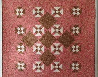 Handmade Traditional Quilt, Pink and Brown Quilt, Lap Quilt, Throw Quilt, Churn Dash Quilt, Patchwork Quilt, Home Decor