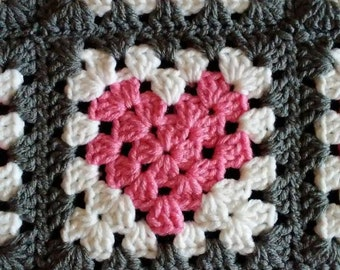 Crochet Granny Square Heart Blanket