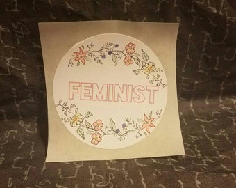 Floral Feminist Sticker