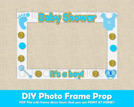 baby shower photo frame prop boy printable diy picture frame prop