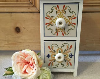 Miniature Two Drawer White Chest of Drawers