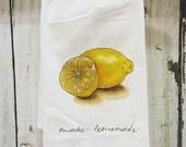 Lemon - Food Pun Flour Sack Towel - Hand Lettered - Watercolor - Kitchen Towel - Gift - Cotton Tea Towel - Fruits & Veggies - Produce