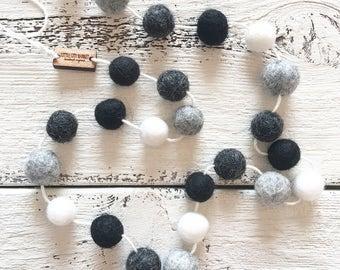 Felt Ball Garland MINI - Stormy Nights - Nursery Decor, Monochrome Black and White Decor, Gender Neutral Nursery Decoration