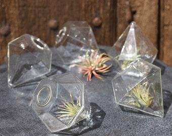 Small Gem Vase, glass vase, small vase, Geometric Vase, Bud vase, Home Decor, Wedding Decor, Geometric Wedding, Pair of Gem Vases