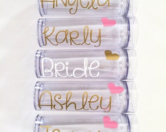 Set of 8 Bridesmaid Tumblers With Hearts | Bachelorette Party Gift | Bridesmaid Gifts | Wedding Party Gift | Flower Girl Gift