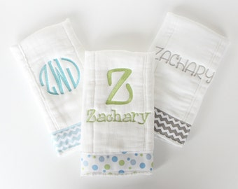 Set of 3 Personalized Burp Cloths