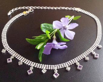 Vintage Sterling Ball Chain and Amethyst Drop Chocker Necklace Milor Italy