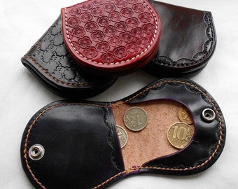 PDF Pattern Coin Wallet, Leather Coin Purse, Leather Coin Tray, Leather Clam Purse