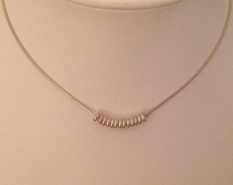 STERLING SILVER Snake Chain  with 13 Sterling Silver Rings...Italy....Free Shipping!