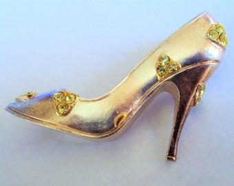 Vintage MMA Crystal Shoe Pin Brooch, Metropolitan Museum of Art Champagne Color Rhinestones Silver Tone Cinderella Shoe Brooch, MMA Jewelry