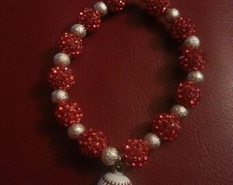 Red & Silver Rhinestone Bracelet with Baseball Charm.