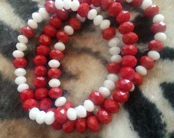 Red/White Triple Bracelet Set