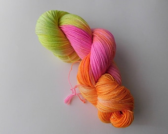 Tequila sunrise hand dyed sock wool