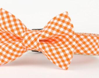 Orange Gingham,  Puppy Bow Tie Collar, Dog Bow Tie Collar, Designer Bow Tie Collar,  Dog Accessories, Orange Dog Collar