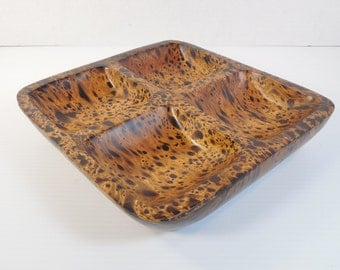 Vintage Mango Wood Divided Tray Carved Mango Wood Four 4 Section Divided Dish Bowl Divided Appetizer Snack Charcuterie Hors d'oeuvre Platter