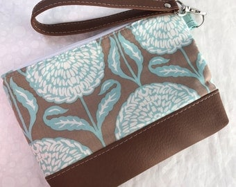 Brown and Teal Dahlias Clutch with Faux Leather