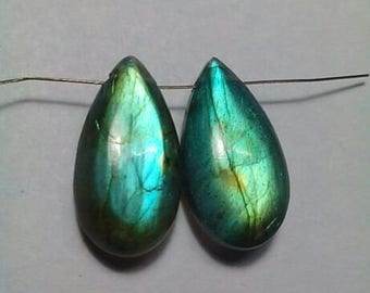 Labradorite Pear Shape Smooth Drilled Briolette Mached Pair