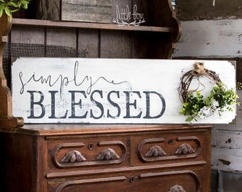 Farmhouse Decor, Simply Blessed Sign, Farmhouse Sign, Farmhouse Wood Sign, Rustic Wood Signs, Signs, Shiplap Sign