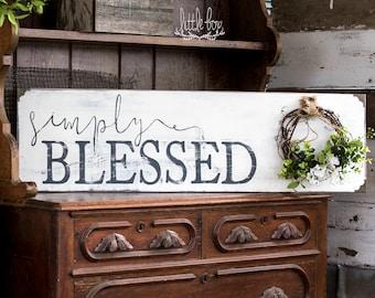 Farmhouse Decor, Simply Blessed Sign, Farmhouse Sign, Farmhouse Wood Sign, Rustic Wood Signs, Shiplap Sign