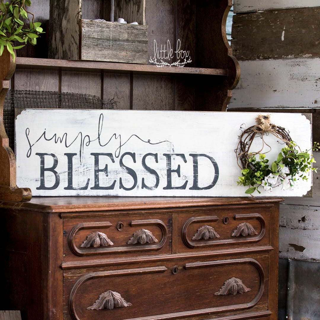 Farmhouse decor simply blessed sign farmhouse sign for Sign decoration