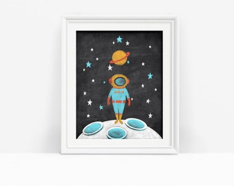 Printable Outer Space Art, Astronaut Print, Nursery Decor, Spaceman Kid's Decor, Digital Download
