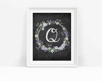 Printable Letter Q Monogram Wall Decor, Chalkboard Initial Q Art Download, Floral Wreath Print