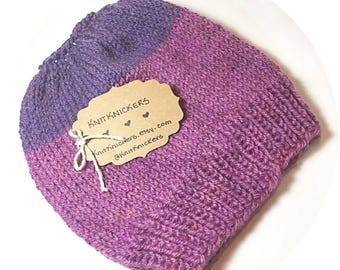 Womens Two Toned Purple Top Knot Toque, Messy Bun Hat, Ponytail Hat.