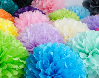 10 Tissue Paper Pom Poms - Pompoms - Paper Flower - Flower Balls -Wedding - Party - Baby Shower - Birthday Decorations - Hanging Decorations