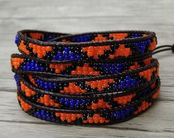 Orange Bead Leather wrap bracelet Royal blue bead wrap bracelet OM seed bead bracelet 5 wraps leather bracelet yoga bracelet jewelry SL-0421