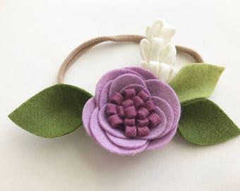 P E O N Y - C R O W N - Multiple Colors - Headband or Clip - Felt Flower -