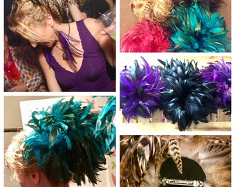 Feather Hair Fascintators - with french clip - feather hair clip - rooster feathers