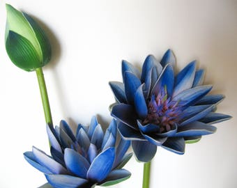 Real Touch Lotus Water Lily/Artificial Blue/Pink Flowers/Artificial Lotus Water Lilies/Home Decor/Flower Centerpiece