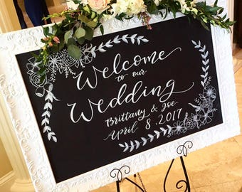 Wedding welcome sign | handlettered chalkboard for weddings or parties