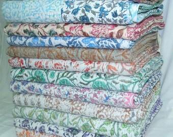 5 Piece Wholesale Lot Kantha Quilt Queen Size Patchwork Bedsheet Floral Design Bedcover Handmade Bedspread Assorted Color