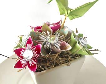 Origami bouquet, mini origami centerpiece, origami crane centerpiece, origami wedding centerpiece, paper anniversary, small floral bouquet,