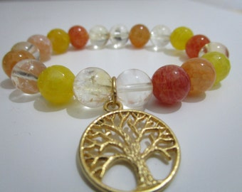 Bracelet of citrine, agate veins of dragon yellow and agate veins of dragon Orange, hanging tree of the life, gift for woman