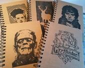 Handprinted Kraft paper A5 Notepad - Hobbit - Frankenstein - Bride - Gryffindor - Stag -